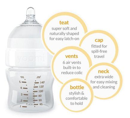 Bình sữa Yoomi 140ml cho các bé từ 0 tháng trở lên