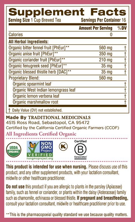 Thành phần trà lợi sữa organic mother's milk của Mỹ