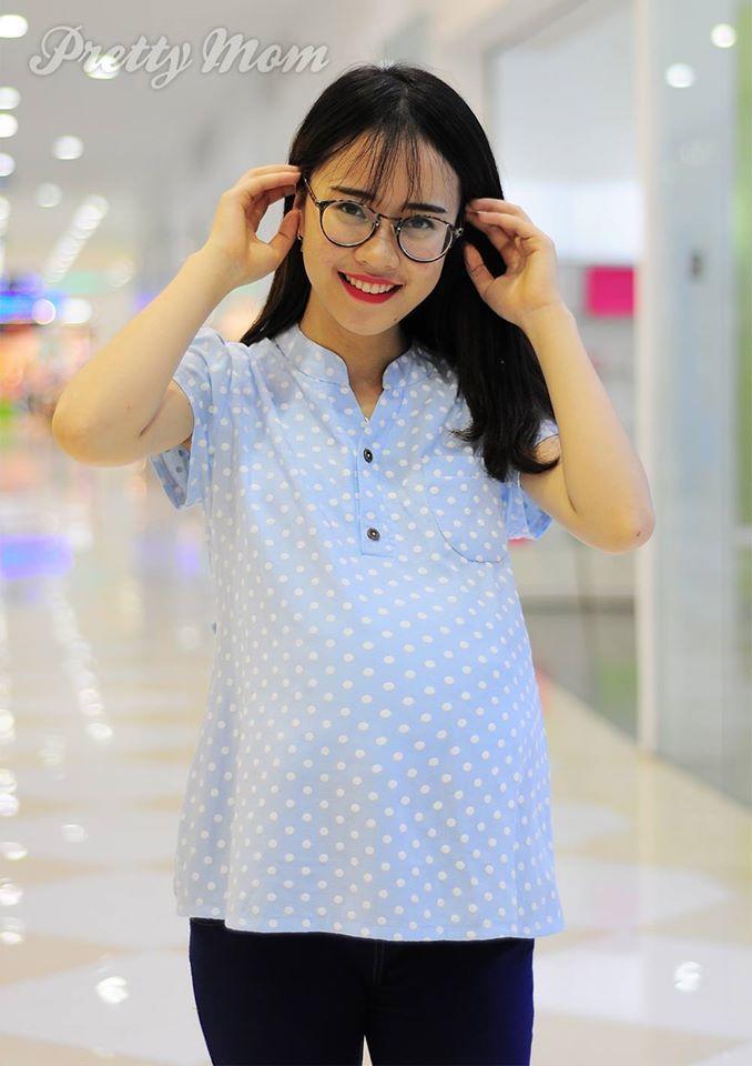 Áo bầu chấm bi màu xanh Pastel giúp mẹ bầu nữ tính, nhẹ nhàng