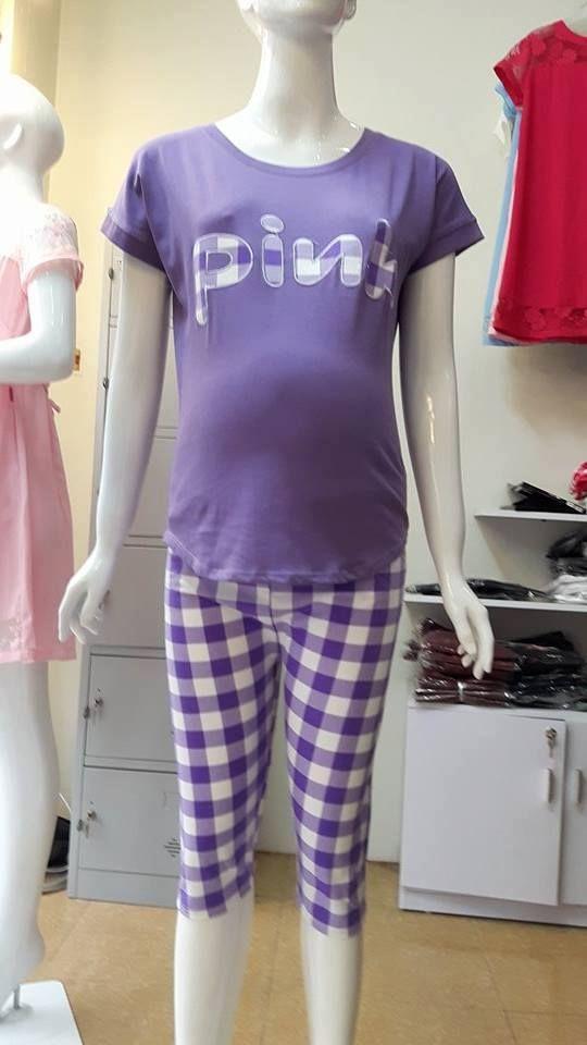 Bộ mặc nhà bầu, sau sinh Pink ngố quần kẻ tím