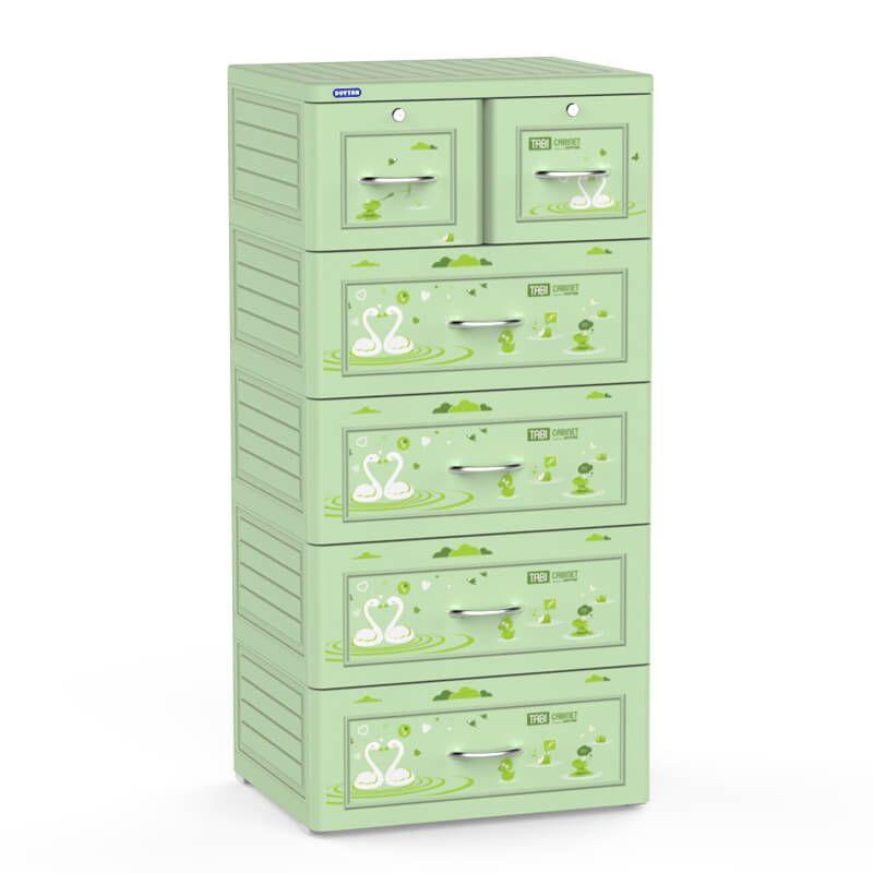 Tủ nhựa duy tân tabi 5 tầng 6 ngăn màu xanh lá