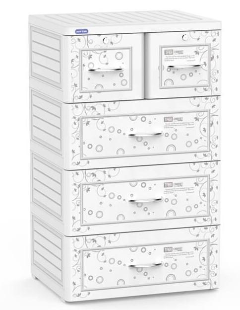 Tủ nhựa Duy Tân Tabi 4 tầng 5 ngăn màu trắng