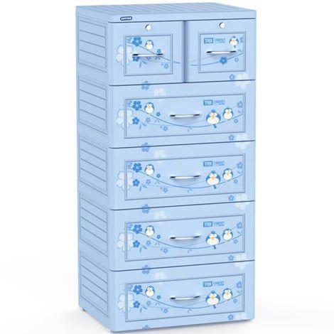 Tủ nhựa duy tân tabi 5 tầng 6 ngăn dễ thương với màu xanh dương bắt mắt