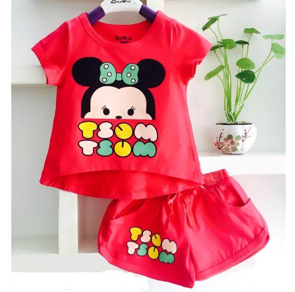 Bộ quần áo cho bé gái in hình chuột Mickey dễ thương 2