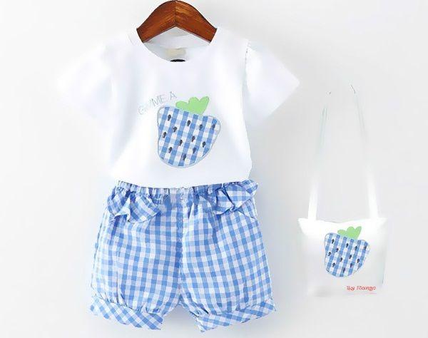 Bộ đồ quần áo cho bé gái họa tiết trái dâu xinh xắn màu sắc ton sur ton
