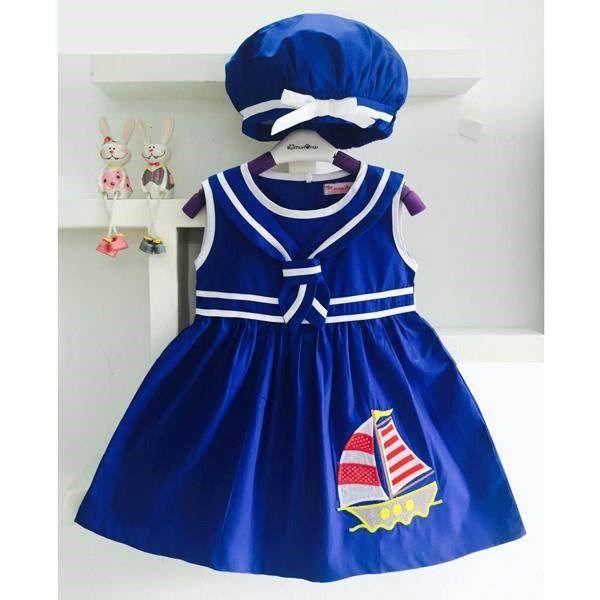 Váy thủy thủ thêu thuyền kèm nón bánh tiêu 3