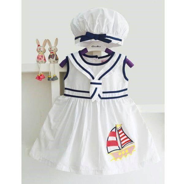Váy thủy thủ thêu thuyền kèm nón bánh tiêu 2