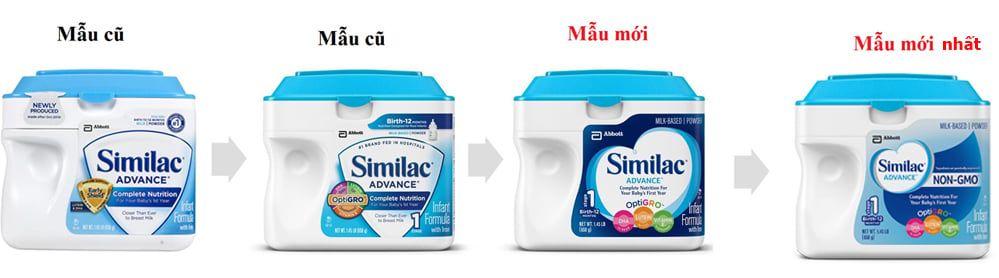 Các mẫu sữa Similac của Mỹ cho trẻ sơ sinh Advance được cải tiến theo thời gian