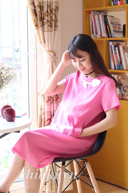 Đầm bầu Pretty Mom V05 hồng hoa thiết kế đơn giản nhưng sang trọng