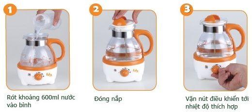Các bước sử dụng Máy hâm nước pha sữa có nhiệt kế Fatzbaby FB3009SL