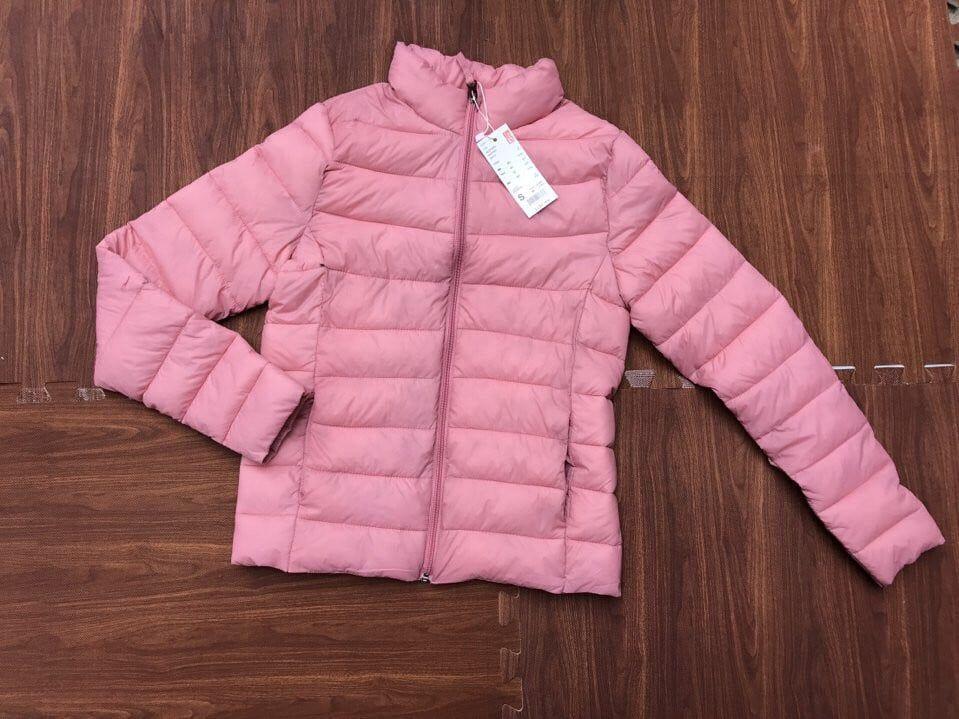 Áo phao siêu nhẹ Uniqlo nữ màu hồng phấn không phai màu
