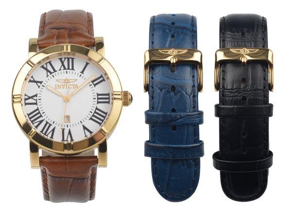 Đi kèm với đồng hồ là 2 dây da chính hãng màu đen và xanh