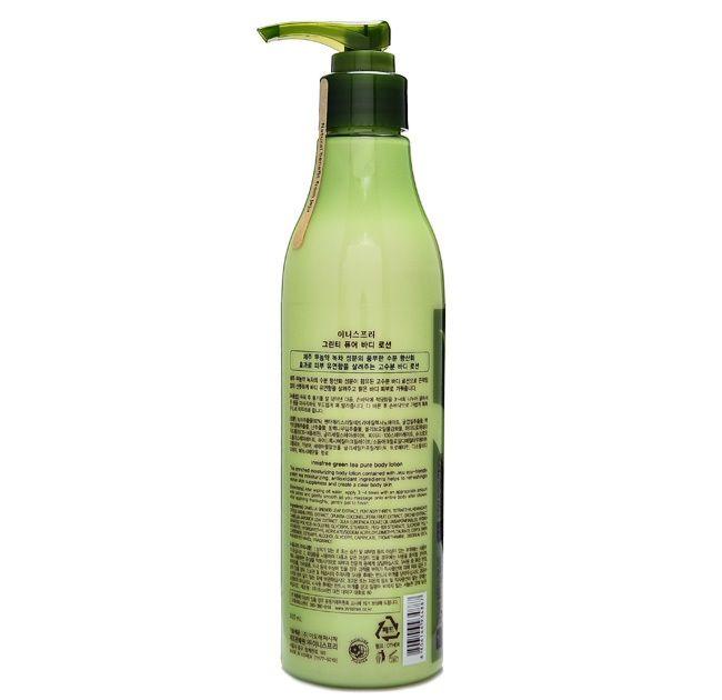 Innisfree Green Tea Pure Body Lotion chứa tinh dầu từ hạt trà xanh có khả năng dưỡng ẩm hiệu quả với công thức hydrat hoá