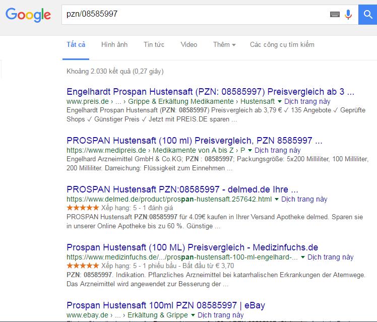 Cách check thuốc ho Prospan của Đức chính hãng bằng google.com