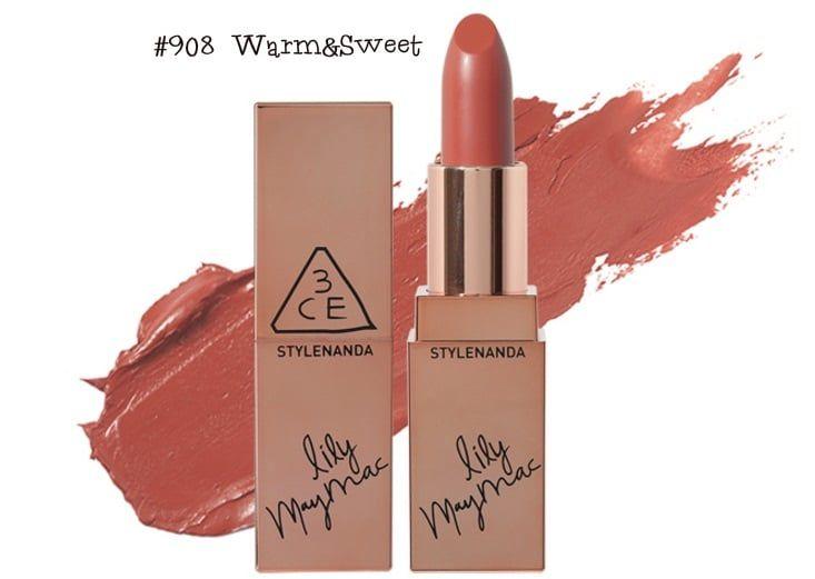 Son thỏi 3CE Lily MayMac Matte Lip Color tonemàu cam đất thời thượng