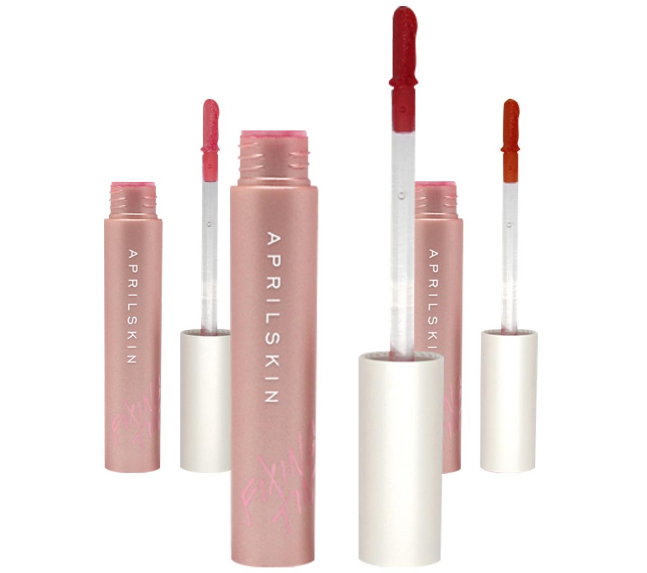 Son April Skin Fixing Tint Hàn Quốc với thiết kế màu hồng kết hợp với màu trắng khá bắt mắt, lạ, đẹp