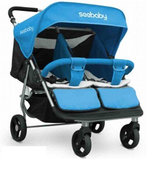 Xe đẩy đôi Seebaby T22 cho bé màu xanh