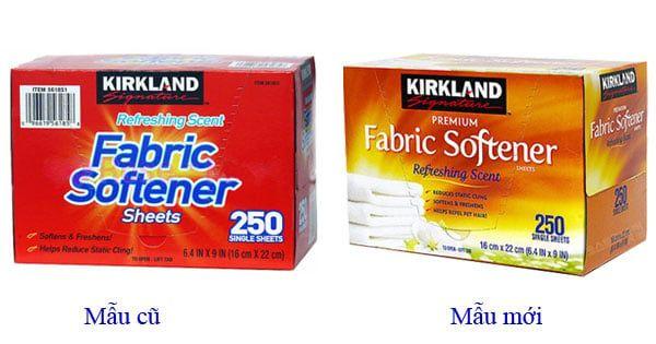 Giấy thơm quần áo Kirkland Fabric Softener 250 tờ của Mỹ mẫu cũ và mẫu mới