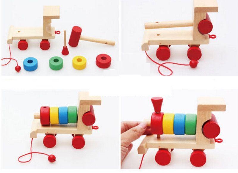 Đồ chơi gỗ xếp hình tàu hỏa nhiều màu sắc