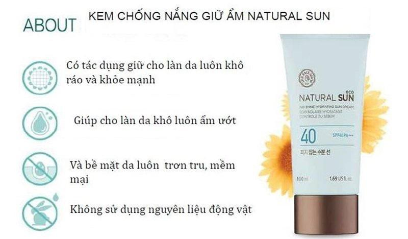 Kem chống nắng của The Face Shop Natural Sun Eco No Shine Hydrating Sun Cream SPF40 PA+++với 5000µg chiết xuất mầm hoa hướng dương, được chứng nhận bởi ECO-CERT