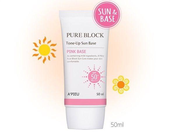 Kem chống nắng A'pieu Pure Block Tone – Up Sun Base Pink Base SPF50 PA+++ chất kem màu hồng nhẹ nhàng