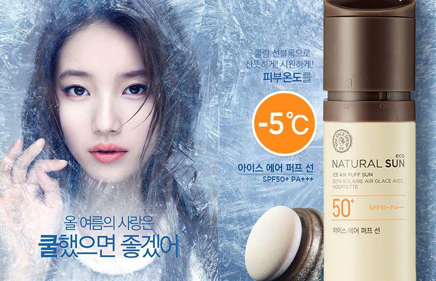Kem chống nắng mát lạnh giảm 5 độ The Face Shop Natural Sun Eco Ice Air Puff Sun SPF50+ PA+++ dạng xịt không gây bóng nhờn khi thoa lên da
