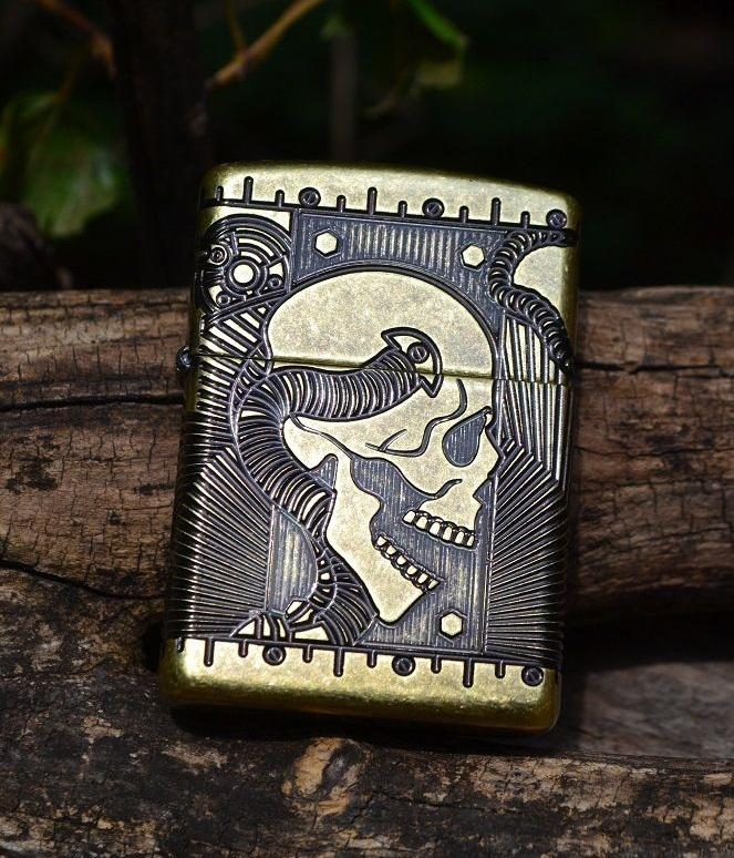 Bật lửa Zippo 29268 steampunk 360 multicut antique brass Armor 1