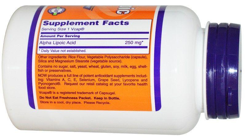 Thành phần trong 1 viên Now alpha lipoic acid 250mg