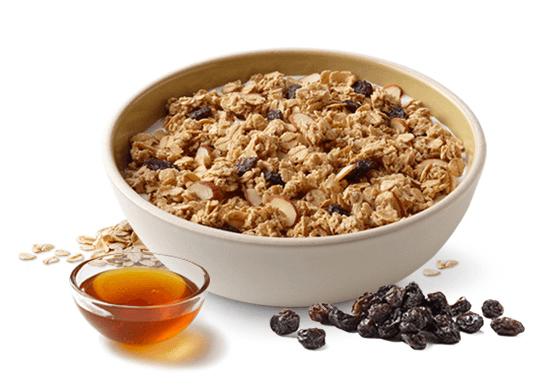 Quaker Granola  bổ sung mật ong, nho khô và hạnh nhân, là những loại thực phẩm có tác dụng giảm cân hiệu quả