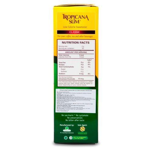 Nhãn sản phẩm Đường ăn kiêng Tropicana Slim Sucraslose 100g