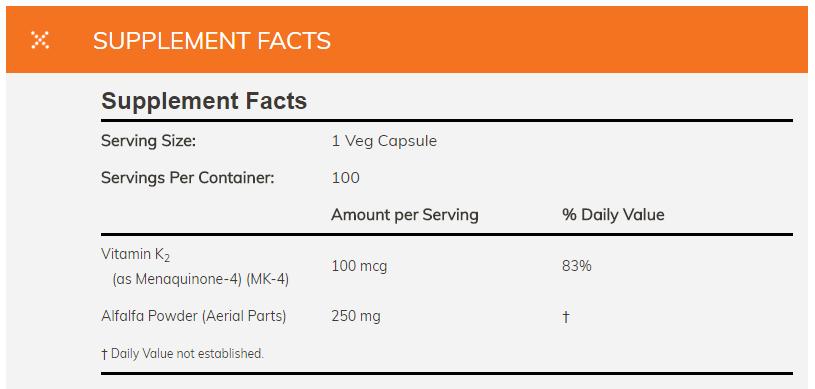 Thành phần của viên uống Vitamin K2 Now 100 mcg