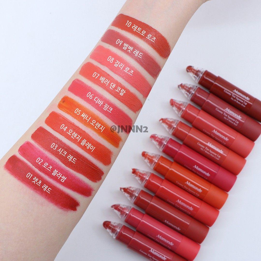 Bảng màu Mamonde Creamy Tint Squeeze Lip: 01 đỏ hồng trầm, 02 đỏ hồng tươi, 03 đỏ thuần, 04 cam đỏ, 05 cam tươi, 06 hồng tươi, 07 cam san hô, 08 hồng san hô, 09 hồng đất, 10 đỏ đất.
