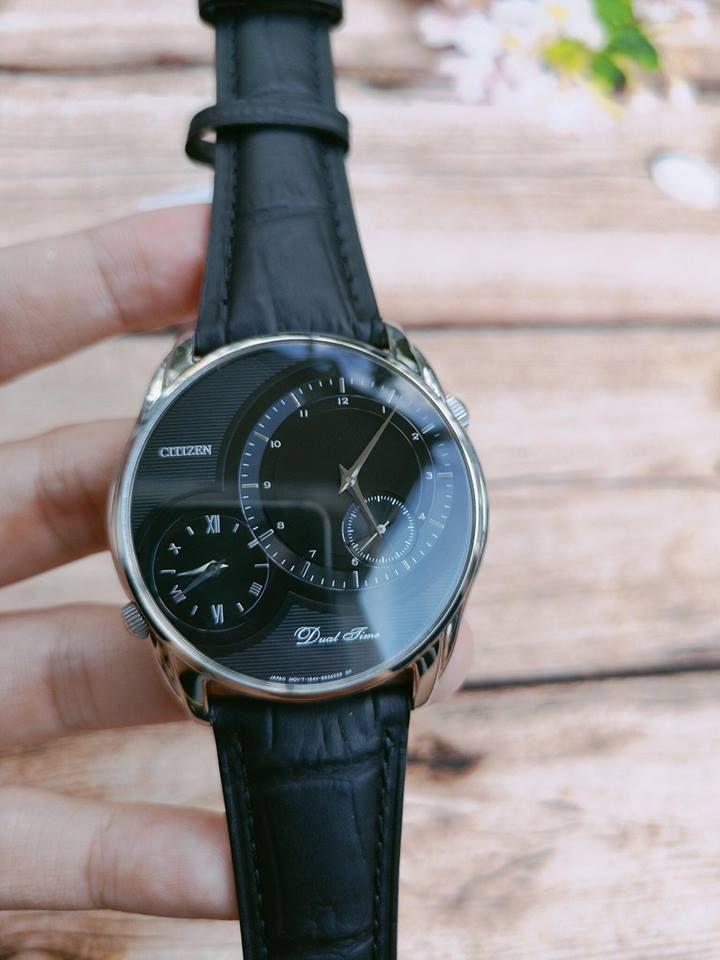 Đồng hồ Citizen AO3009-04E Dual Time dây da cho nam 1
