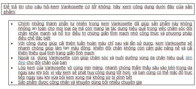Kem Varikosette hỗ trợ điều trị giãn tĩnh mạch 2