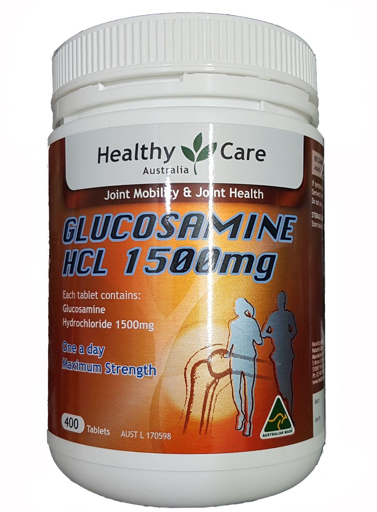 glucosamine HCL 1500mg Healthy Care hộp 400 viên của Úc