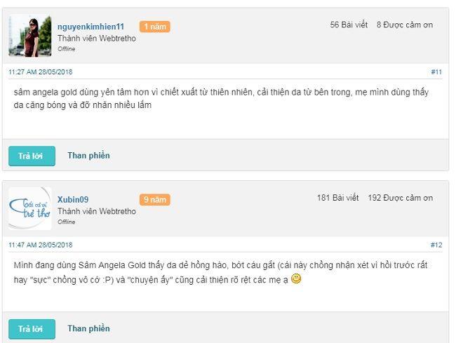 phản hồi từ phía khách hàng sử dụng sâm Angela Gold 3