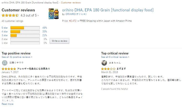 Đánh giá từ phía khách hàng sử dụng viên uống DHA EPA Orihiro Nhật Bản 1