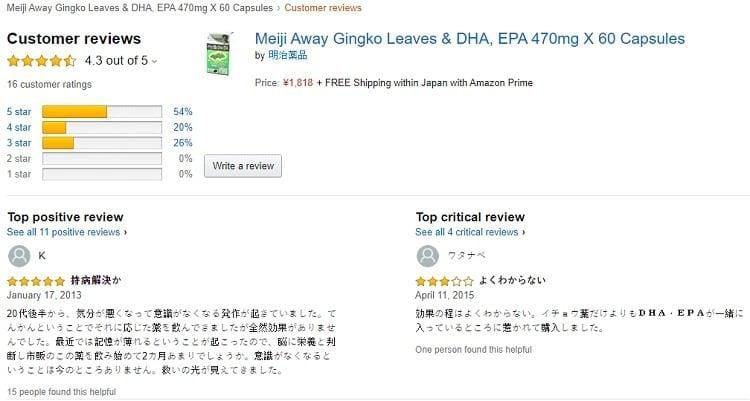 Phản hồi từ phía khách hàng sử dụng DHA EPA Ginkgo Noguchi 2