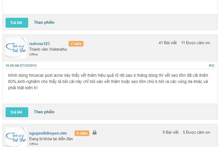 phản hồi từ phía khách hàng sử dụng kem trị sẹo Hiruscar Post Acne 3