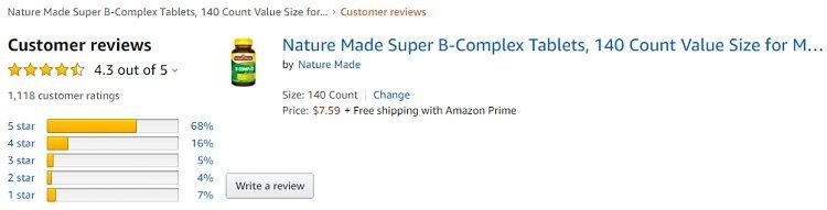 Phản hồi từ phía khách hàng sử dụng Super B-complex Nature Made 3