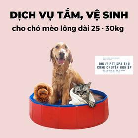 Voucher tắm vệ sinh trọn gói cho chó mèo lông dài 25kg tới 30kg