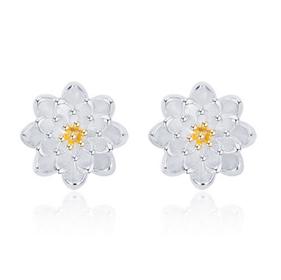 Bông tai hoa cúc cực đẹp chất liệu hợp kim mạ bạc