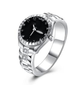 Nhẫn mặt hình đồng hồ chất liệu hợp kim mạ bạc thời trang