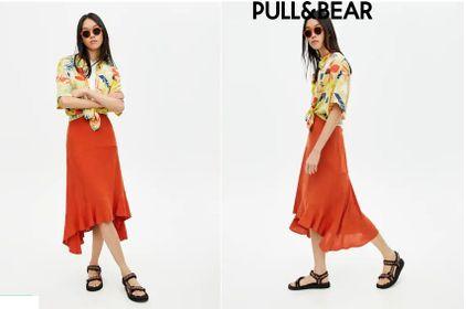Chân váy mullet Pull and Bear màu cam đất