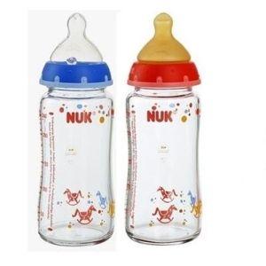 Bình sữa Nuk cổ rộng 240ml (bình thủy tinh, núm ty siêu mềm)