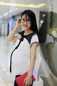 Áo bầu phối ren màu trắng SM05 nữ tính