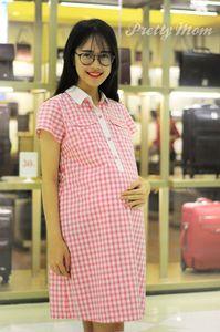 Đầm bầu Pretty Mom MK99 kẻ hồng