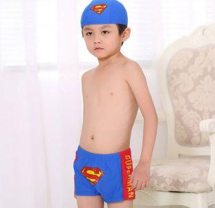 Quần bơi bé trai in hình siêu nhân kèm mũ