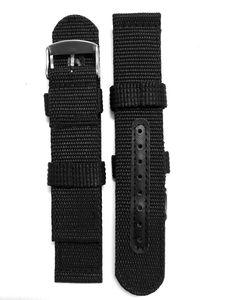 Dây đồng hồ Nato quân đội màu đen bọc lỗ