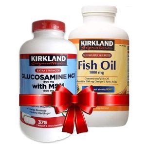 Combo bổ khớp Glucosamine HCL 1500mg Kirkland, Dầu Cá Kirkland 1000 Mg